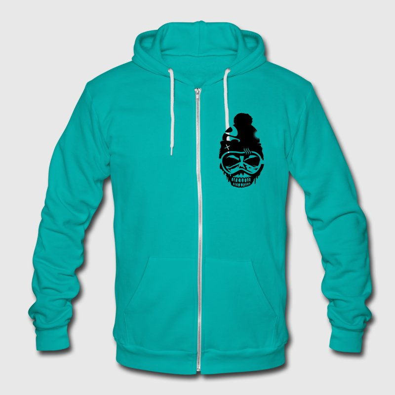 A skull with  snowboard goggles and a cap Zip Hoodies/Jackets - Unisex Fleece Zip Hoodie by American Apparel