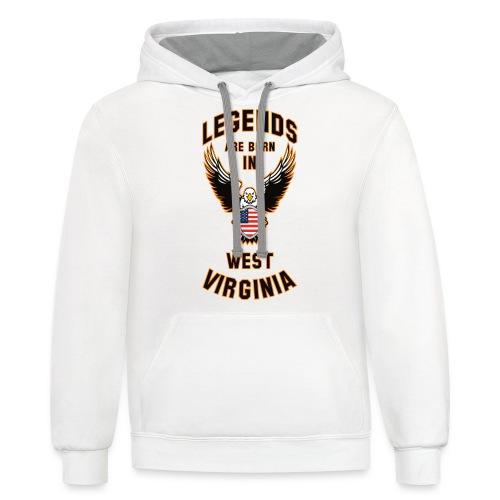 Legends are born in West Virginia - Contrast Hoodie