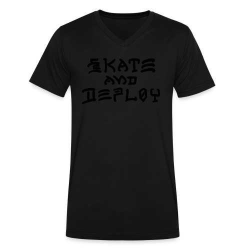 Skate and Deploy - Men's V-Neck T-Shirt by Canvas