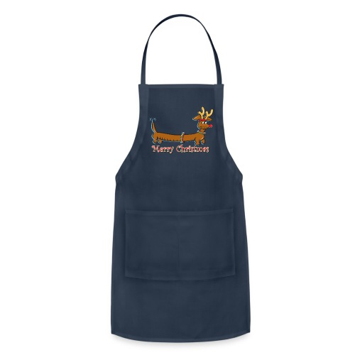 A Cute Cartoon Dachshund with Reindeer Antlers - Adjustable Apron