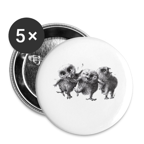 Three Crazy Owls - Buttons small 1'' (5-pack)