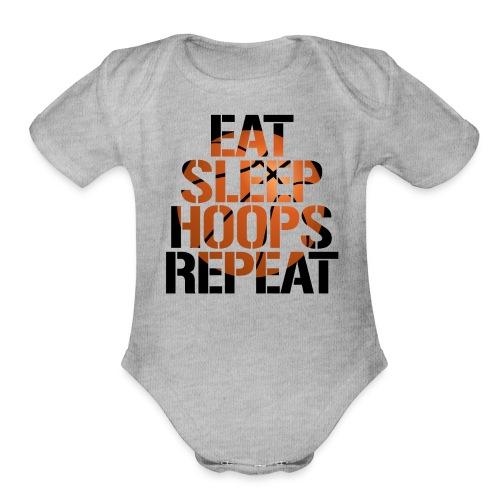 Eat Sleep Hoops basketball shirt - Organic Short Sleeve Baby Bodysuit