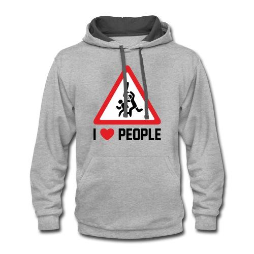 I Love People - Contrast Hoodie