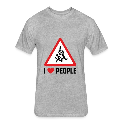I Love People - Fitted Cotton/Poly T-Shirt by Next Level