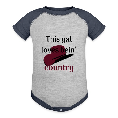This Gal Loves Bein' Country - Contrast Baby Bodysuit
