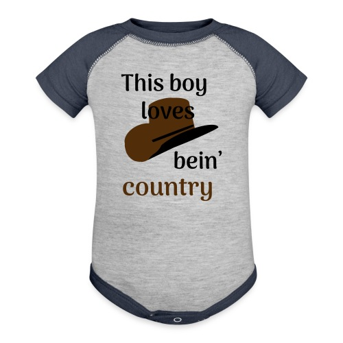 This Boy Loves Bein' Country - Contrast Baby Bodysuit