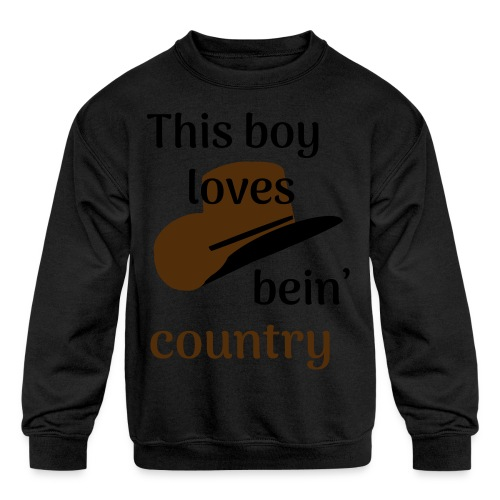 This Boy Loves Bein' Country - Kids' Crewneck Sweatshirt