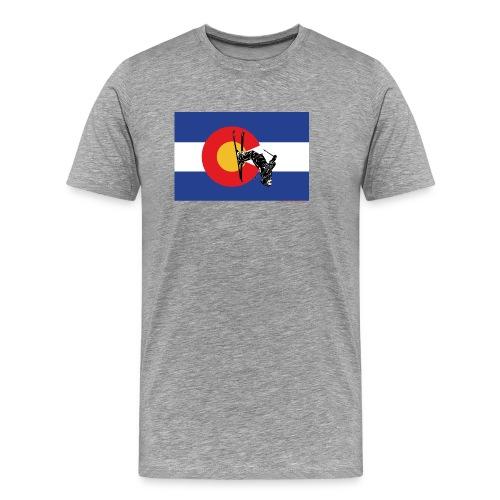 Colorado Flag and Snow Skier - Men's Premium T-Shirt