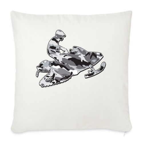 """A Cool Snowmobile in Grey Camouflage - Throw Pillow Cover 18"""" x 18"""""""