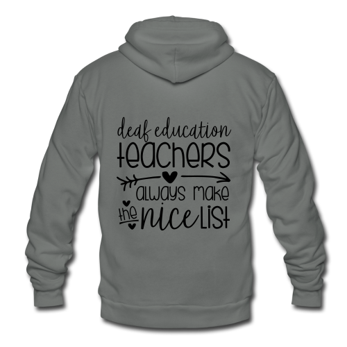 Deaf Ed Teachers Always Make the Nice List - Unisex Fleece Zip Hoodie
