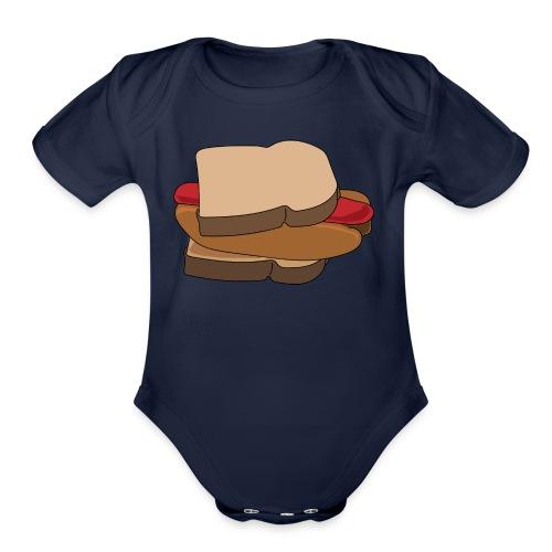 Hot Dog Sandwich - Organic Short Sleeve Baby Bodysuit