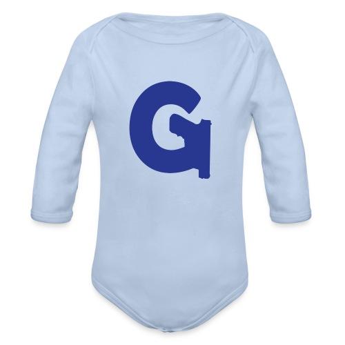 Gun Channels Logo - Blue - Organic Long Sleeve Baby Bodysuit