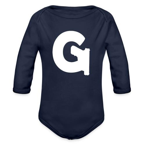 Gun Channels Logo - White - Organic Long Sleeve Baby Bodysuit