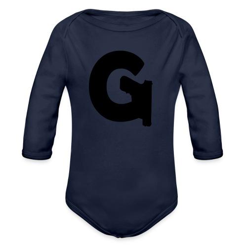 Gun Channels Logo - Black - Organic Long Sleeve Baby Bodysuit