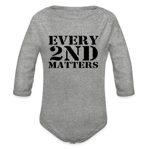 Every 2nd Matters (Black) - Organic Long Sleeve Baby Bodysuit