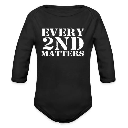 Every 2nd Matters (White) - Organic Long Sleeve Baby Bodysuit