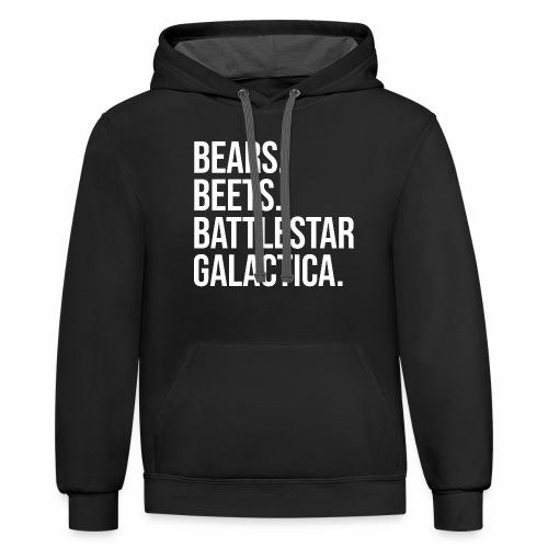 Bears Beets Battlestar  - Contrast Hoodie