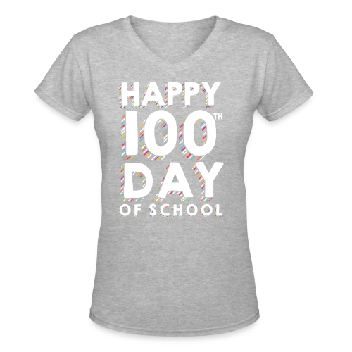 Happy 100th Day of School | Colorful Sprinkles - Women's V-Neck T-Shirt