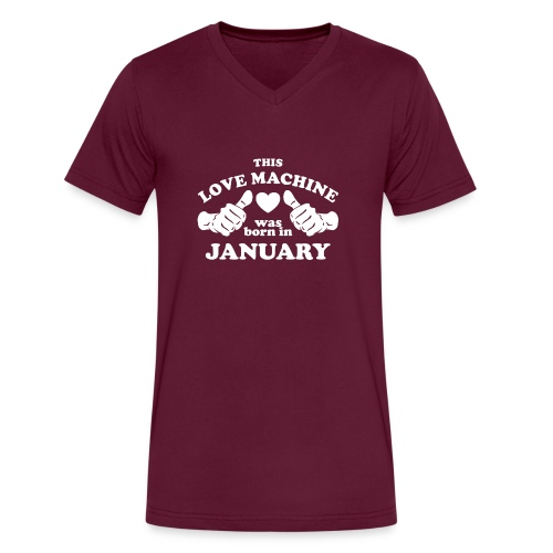 This Love Machine Was Born In January - Men's V-Neck T-Shirt by Canvas