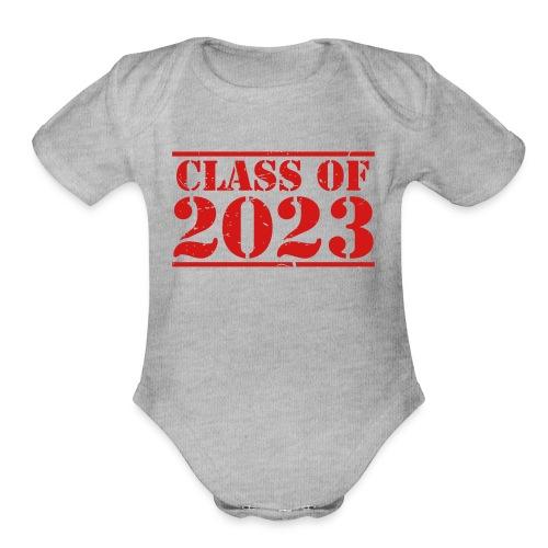 Class of 2023 distressed grad logo - Organic Short Sleeve Baby Bodysuit