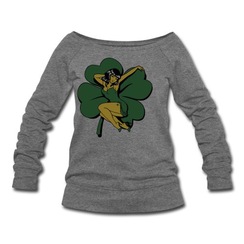 Lucky Shirt St Patrick's Pinup Girl Shirts - Women's Wideneck Sweatshirt