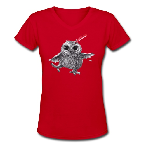 Chief Red - Happy Owl - Women's V-Neck T-Shirt