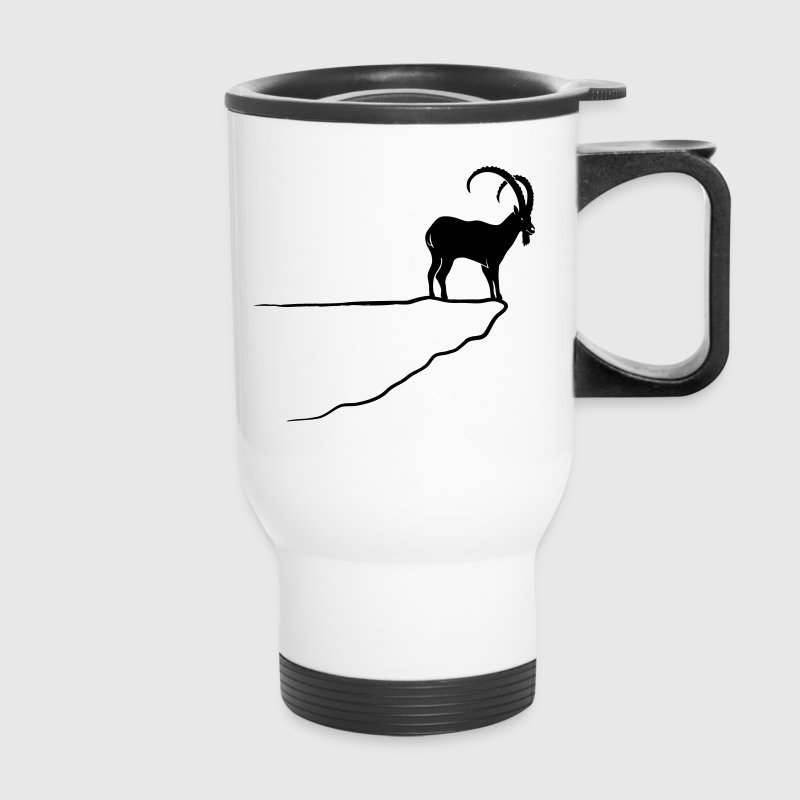ibex capricorn mountain goat sheep rock climbing Bottles & Mugs - Travel Mug