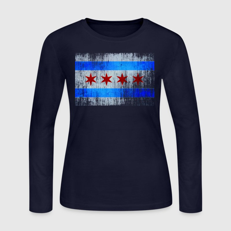 Chicago Flag Faded Chicago Hoody Long Sleeve Shirts - Women's Long Sleeve Jersey T-Shirt