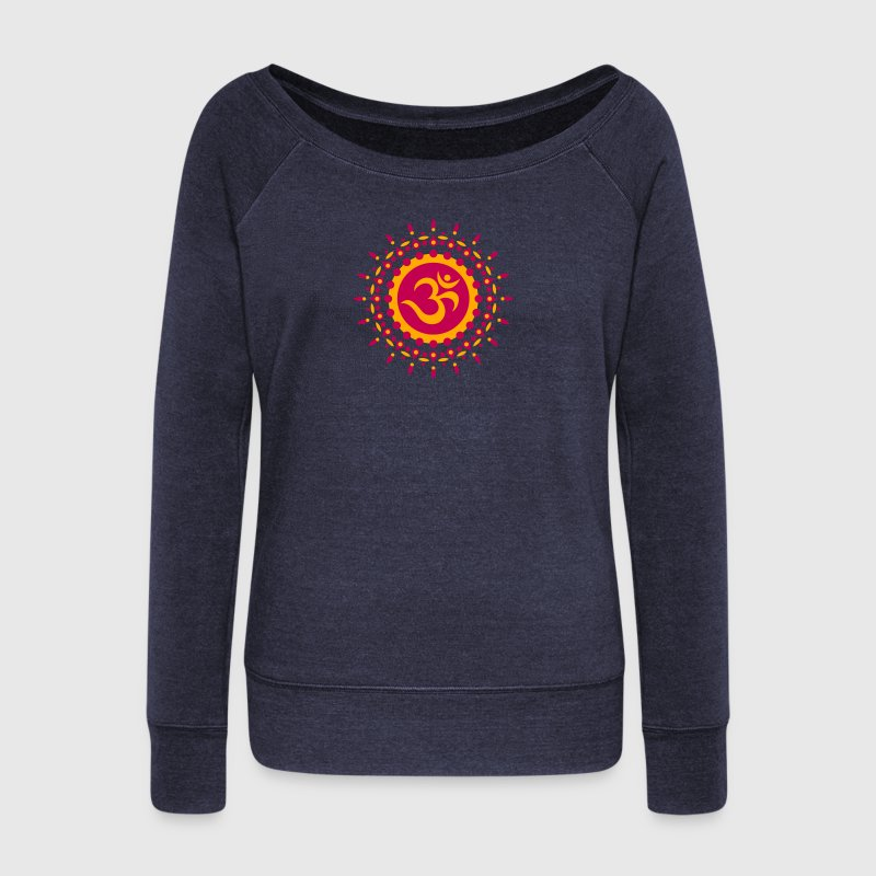 Om Symbol, Mandala, Flower, Sun, Yoga, Meditation Long Sleeve Shirts - Women's Wideneck Sweatshirt