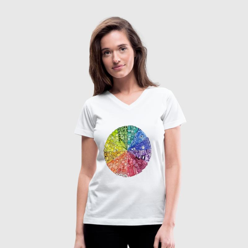 color wheel doodle Women's T-Shirts - Women's V-Neck T-Shirt