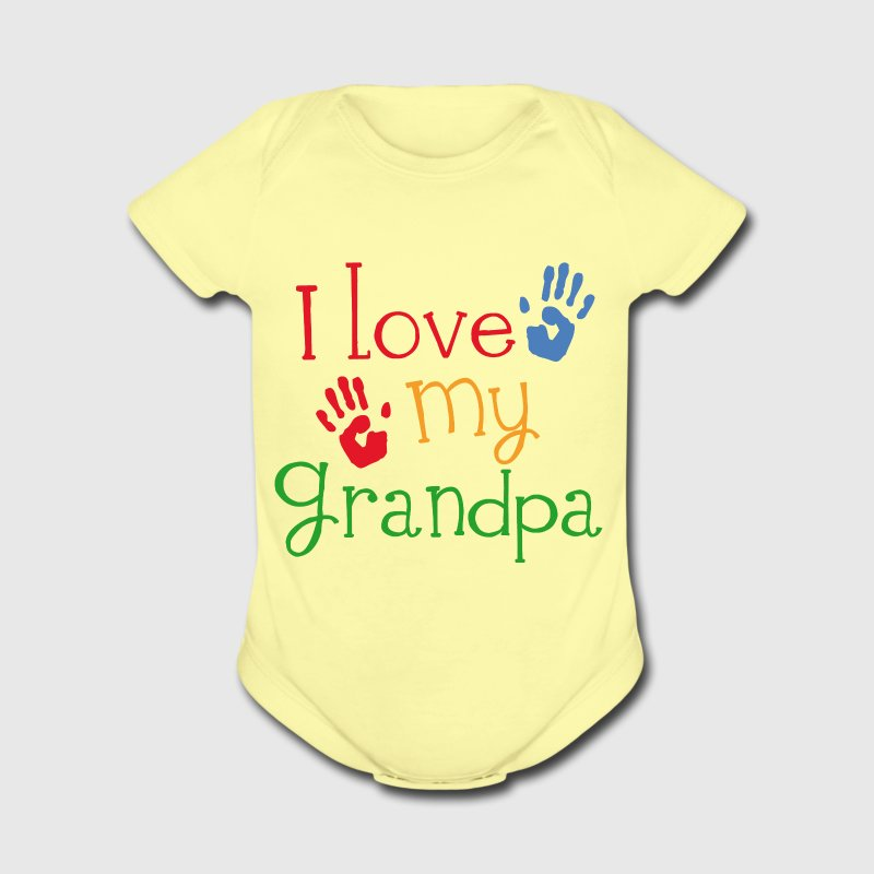 I Love My Grandpa Kids T-shirt (handprint) - Short Sleeve Baby Bodysuit