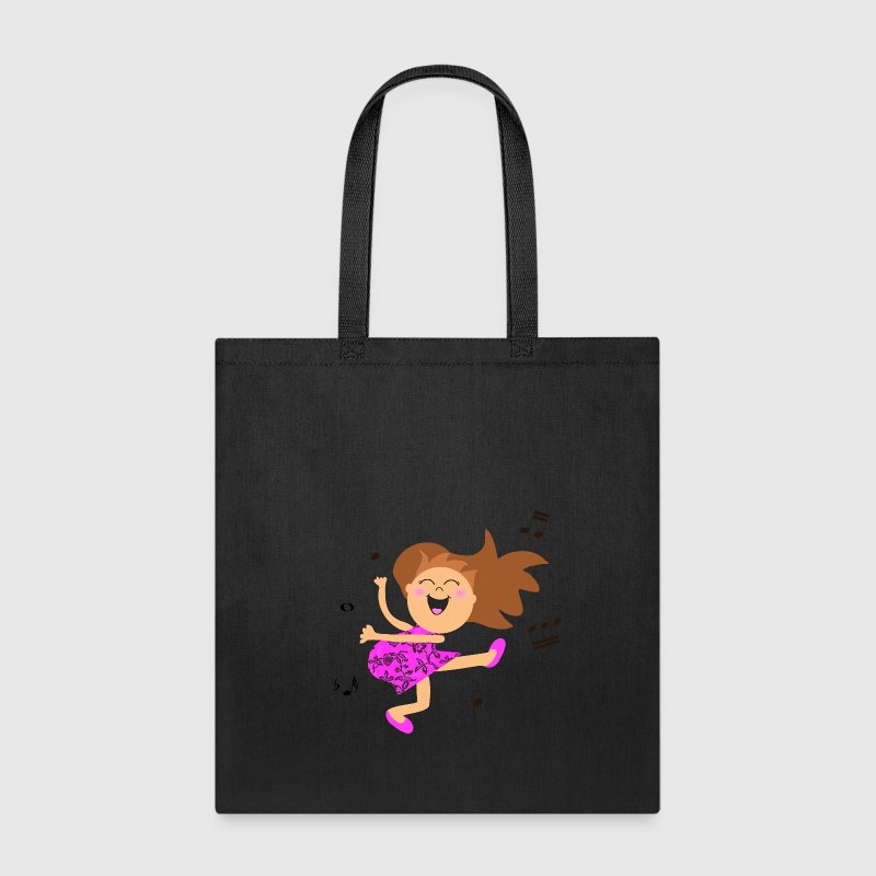 Cute dancing girl cartoon in hot pink dress Bags & backpacks - Tote Bag