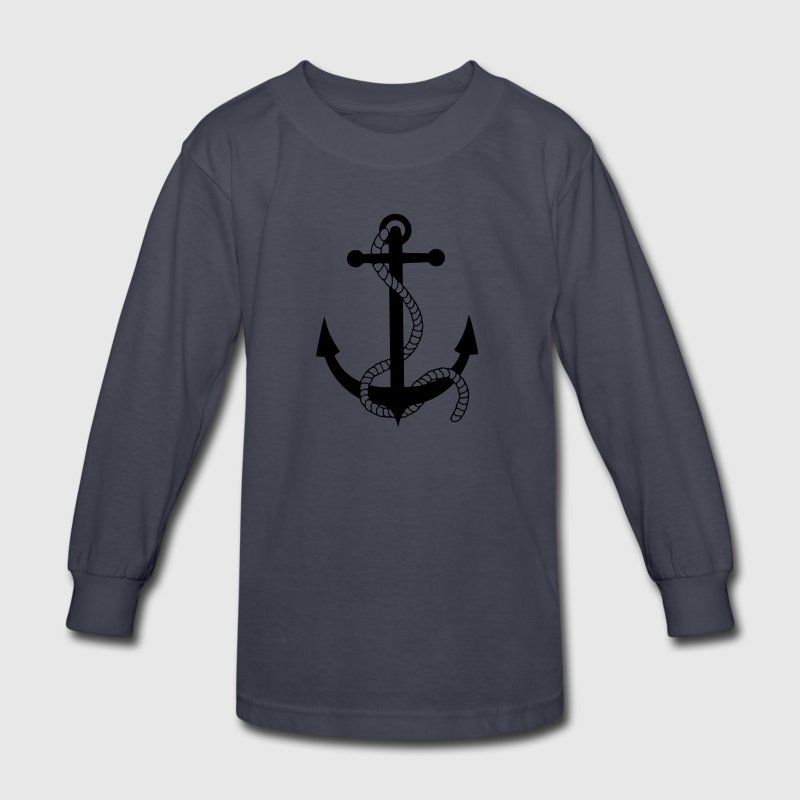 anchor ship boat harbour sailing captain sea Kids' Shirts - Kids' Long Sleeve T-Shirt
