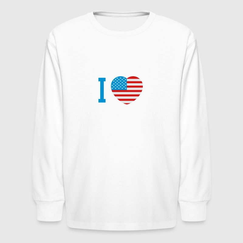 I love America heart flag Kids' Shirts - Kids' Long Sleeve T-Shirt