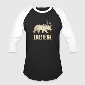 Vintage Bear+Deer=Beer - Baseball T-Shirt