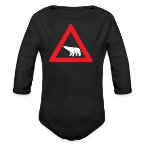 Polar Bear Road Sign - Long Sleeve Baby Bodysuit