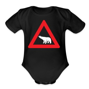 Polar Bear Road Sign - Short Sleeve Baby Bodysuit