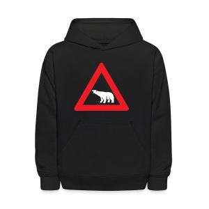 Polar Bear Road Sign - Kids' Hoodie