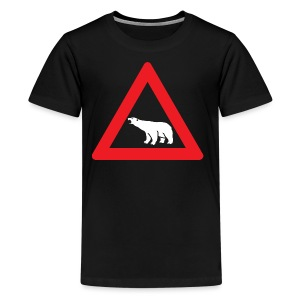Polar Bear Road Sign - Kids' Premium T-Shirt