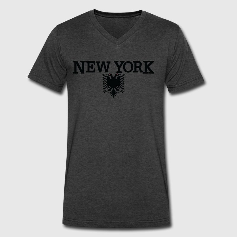 New York Albanian Flag T-Shirts - Men's V-Neck T-Shirt by Canvas