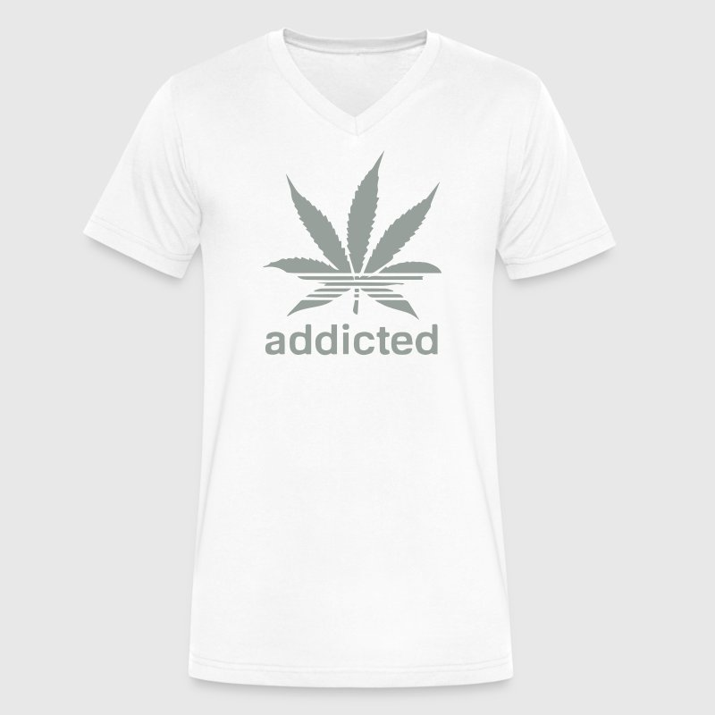 WEED ADDICTED T-Shirts - Men's V-Neck T-Shirt by Canvas