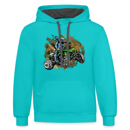 Green ATV Mudding - Contrast Hoodie