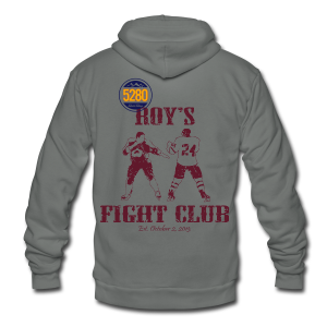 Roy's Fight Club - Burgundy - Mens T-Shirt - Unisex Fleece Zip Hoodie by American Apparel