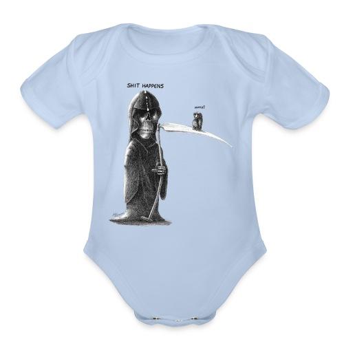 shit happens - Organic Short Sleeve Baby Bodysuit