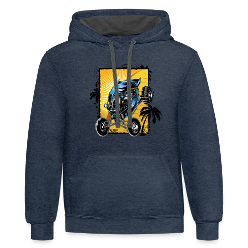 Blue Downhill Dune Buggy - Contrast Hoodie