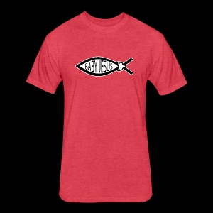 Baby Jesus Fish - www.TedsThreads.co - Fitted Cotton/Poly T-Shirt by Next Level