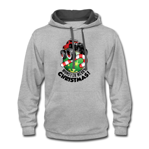 Contrast Hoodie - Have a monster great christmas with this awesome monster truck design from Off-Road Styles. Complete with candy-cane and ornament.