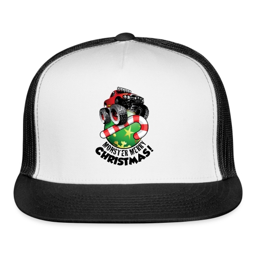 Trucker Cap - Have a monster great christmas with this awesome monster truck design from Off-Road Styles. Complete with candy-cane and ornament.