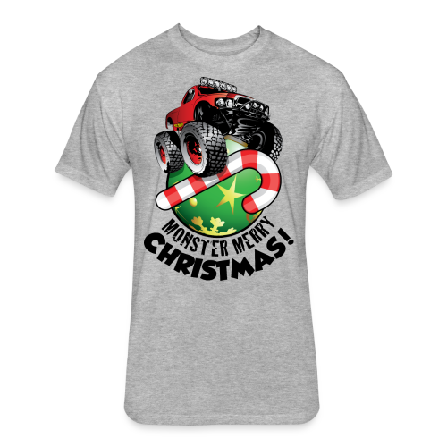 Fitted Cotton/Poly T-Shirt by Next Level - Have a monster great christmas with this awesome monster truck design from Off-Road Styles. Complete with candy-cane and ornament.