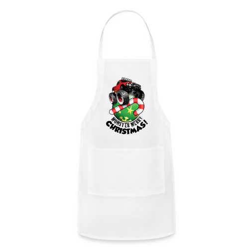 Adjustable Apron - Have a monster great christmas with this awesome monster truck design from Off-Road Styles. Complete with candy-cane and ornament.